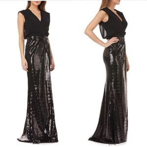 NWT Kay Unger Black Sequin Gown